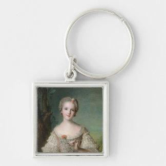 Retrato de señora Louise de Francia Llavero Cuadrado Plateado