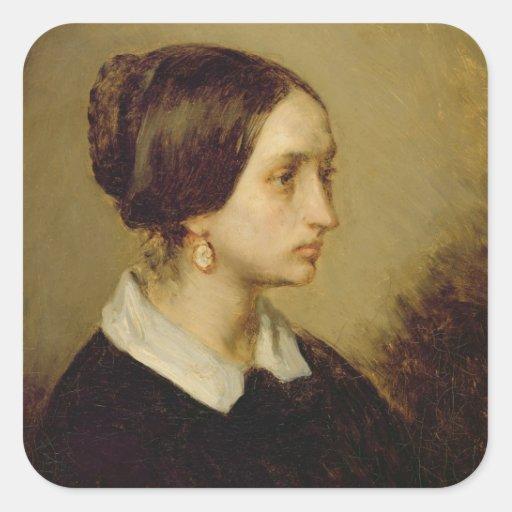 Retrato de señora Ono, 1844 Pegatina Cuadrada