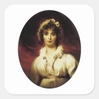 Retrato de señora Roberto Burne-Jones Pegatina Cuadrada