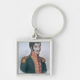 Retrato de Simon Bolivar Llavero Cuadrado Plateado