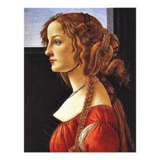 """Retrato de Simonetta Vespucci de Botticelli Sandr Folleto 8.5"""" X 11"""""""