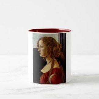 Retrato de Simonetta Vespucci por Botticelli Taza De Dos Tonos