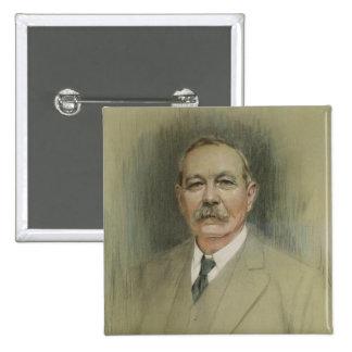 Retrato de sir Arthur Conan Doyle Pin Cuadrado