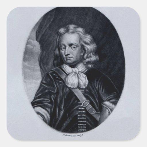 Retrato de sir Christopher Minns Calcomanía Cuadradase