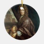 Retrato de sir Christopher Wren (aceite en lona) Adorno Navideño Redondo De Cerámica