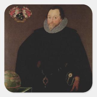 Retrato de sir Francis Drake 1591 Pegatina Cuadrada