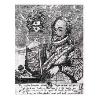Retrato de sir Francis Drake Tarjeta Postal
