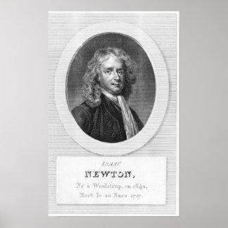 Retrato de sir Isaac Newton Póster