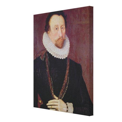 Retrato de sir Juan Hawkins 1581 Impresión En Lona