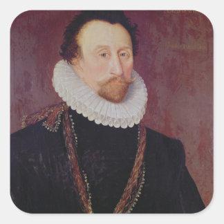 Retrato de sir Juan Hawkins 1581 Pegatina Cuadrada