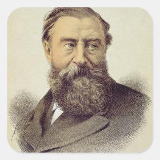 Retrato de sir Samuel Baker (1821-93) (color Pegatina Cuadrada