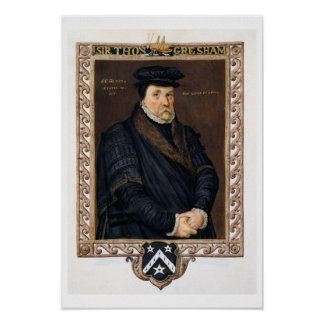 Retrato de sir Thomas Gresham (c.1519-79) de 'M Póster