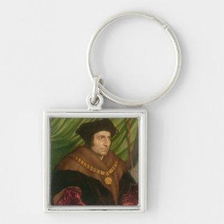 Retrato de sir Thomas More Llavero Cuadrado Plateado