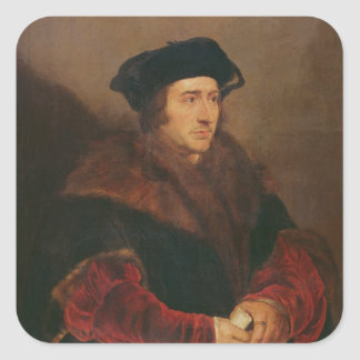 Retrato de sir Thomas More Calcomania Cuadradas