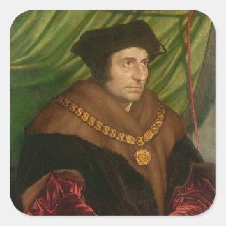 Retrato de sir Thomas More Calcomanía Cuadrada
