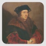 Retrato de sir Thomas More Pegatina Cuadrada