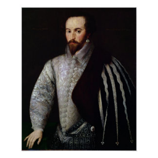 Retrato de sir Walter Raleigh 1588 Póster