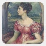 Retrato de Srta. Puxley, 1826 (aceite en lona) Pegatina Cuadrada