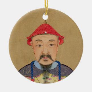 Retrato de T'ai T'sin Che-Tsou (1638-61) Adorno Navideño Redondo De Cerámica