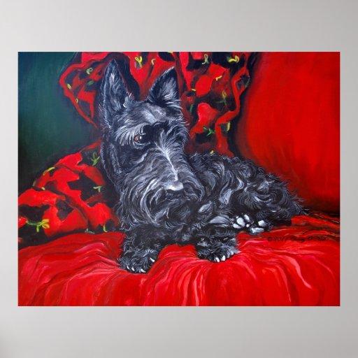 Retrato de Terrier Haggis del escocés Posters