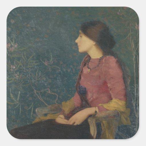 Retrato de Thadee-Caroline Jacquet Pegatina Cuadradas