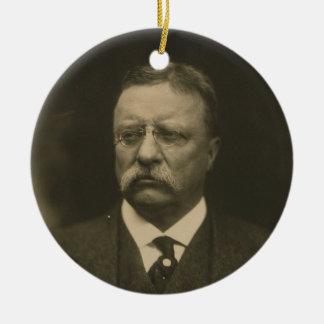 Retrato de Theodore Roosevelt de los hermanos de Adorno Navideño Redondo De Cerámica