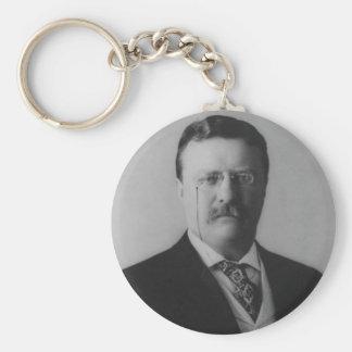 Retrato de Theodore Roosevelt Llavero Redondo Tipo Pin