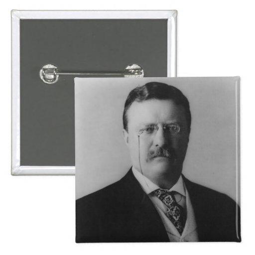 Retrato de Theodore Roosevelt Pin Cuadrado