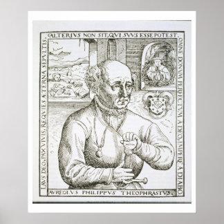 Retrato de Theothrastus Paracelsus (1493-1541), c Póster