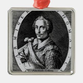 Retrato de Thomas Cavendish Adorno Navideño Cuadrado De Metal