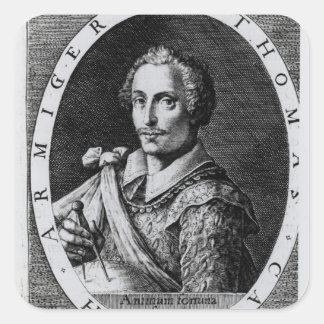 Retrato de Thomas Cavendish Pegatina Cuadrada