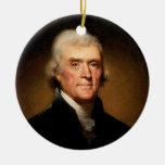 Retrato de Thomas Jefferson de Rembrandt Peale Adorno Navideño Redondo De Cerámica