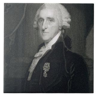 Retrato de Thomas McKean, grabado por Thomas B.W Azulejo Cuadrado Grande