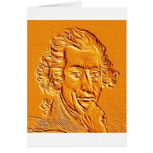 Retrato de Thomas Paine en oro Tarjetón