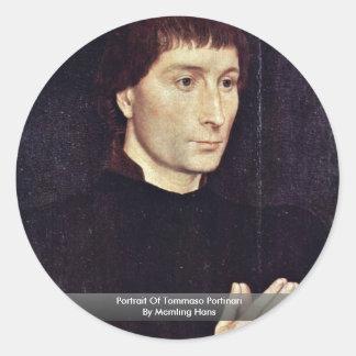 Retrato de Tomás Portinari de Memling Hans Pegatina Redonda