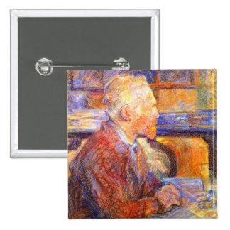 Retrato de Toulouse-Lautrec de Van Gogh Pin Cuadrado