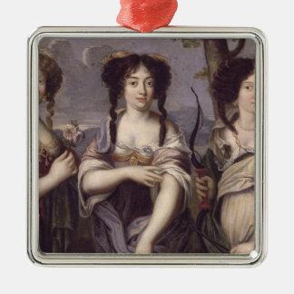 Retrato de tres de sobrinas del cardenal adorno navideño cuadrado de metal