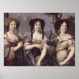 Retrato de tres de sobrinas del cardenal impresiones