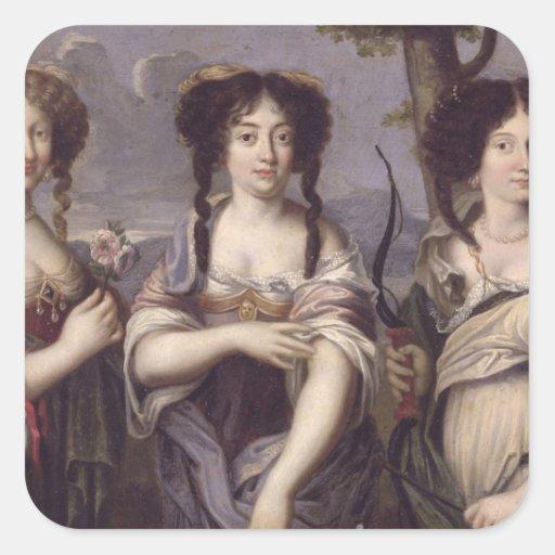 Retrato de tres de sobrinas del cardenal pegatina cuadrada