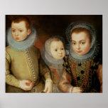 Retrato de tres niños de Tudor Póster