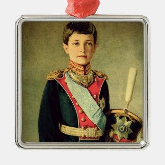 Retrato de Tsarevitch Alexei Nikolaevich; Adorno Navideño Cuadrado De Metal