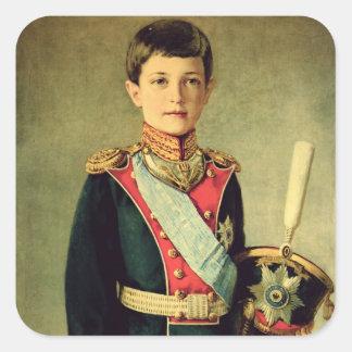 Retrato de Tsarevitch Alexei Nikolaevich; Pegatina Cuadrada