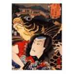 Retrato de un actor con un pescado tarjeta postal