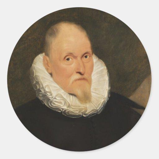 Retrato de un amo holandés de Cornelio de Vos Pegatina Redonda