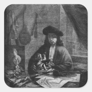 Retrato de un artista joven, grabado cerca pegatina cuadrada