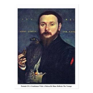 Retrato de un caballero con un halcón tarjetas postales