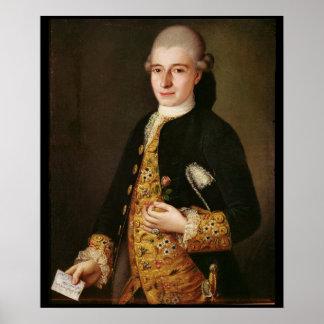 Retrato de un caballero con un ojal color de rosa impresiones