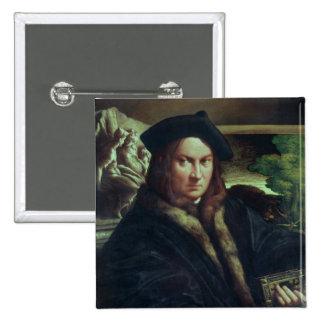 Retrato de un caballero que lleva una boina pin cuadrada 5 cm