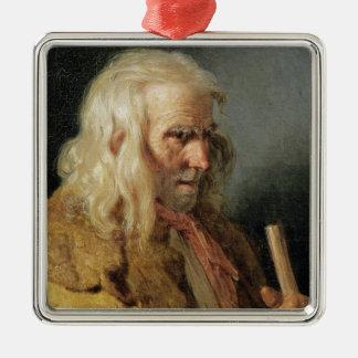 Retrato de un campesino bretón, 1834 adorno navideño cuadrado de metal