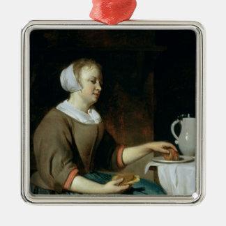 Retrato de un chica asentado en una tabla adorno